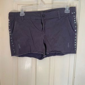 Studded jean shorts